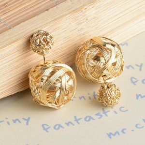Gold Knot Double Sided Ball Earrings